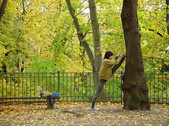 Martial Art (individual8) Tags: park autumn tree berlin fall 2004 fence germany october athlete splits volksparkfriedrichshain dopplr:explore=y051 dopplr:explore=pee1