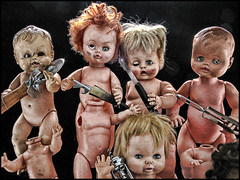 (shadowplay) Tags: dolls oddness cooking kitchentools bizarre enrageddolls corkscrew paringknife pizzawheel