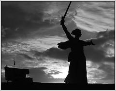Volgograd. The sculpture Mother-Russia calls for! (m@rtovskiy) Tags: bw monument war russia volgograd