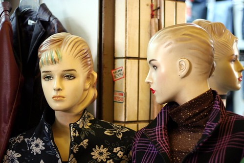You find some rather interesting mannequins in the Yichang clothes market. Some seem to be left over from the 1950s.