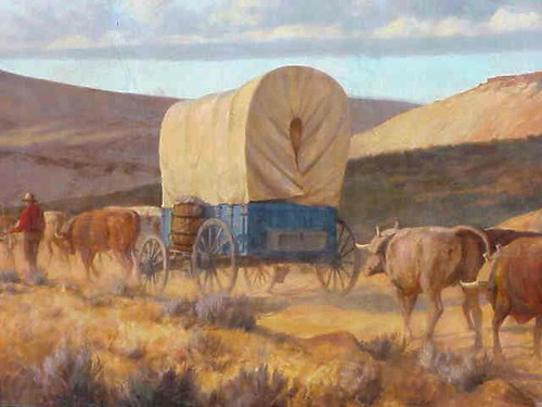 Oregon Trail mural conestoga - a photo on Flickriver