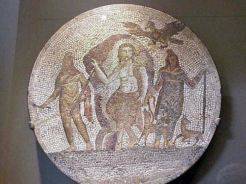 Fragment of a Roman Mosaic depicting Mithras 1st century CE