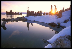 Tufa Sunburst, Mono Lake (Buck Forester) Tags: california camera morning winter lake film nature sunrise mono fuji view lakes scenic velvia sunburst monolake tufa velvia50 tufas southtufa tufatower tufatowers scenicnature monolakemorning