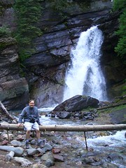 Sean at Waterfall (seanabrady) Tags: glaciernationalpark glacier waterfall nature sean