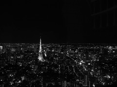 Tokyo Tower in Black & White as seen from Tokyo City View in Roppongi Hills 東京シティビューからの景色 (白黒) (only1tanuki) Tags: bw japan japanese tokyo view tokyotower roppongihills 夜景 東京タワー 六本木ヒルズ 白黒 東京都 tokyocityview 東京シティビュー