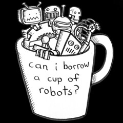 cup of robots ~ on black
