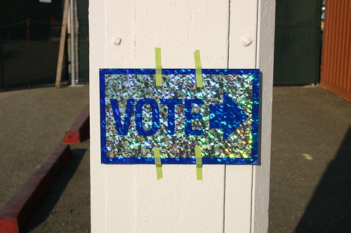 Shiny vote sign