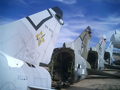 Corsair II fighter jet tail sections (Telstar Logistics) Tags: arizona tucson aircraft boneyard jetsetruin nationalaviation haveco