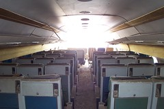 Cabin view, Eastern Airlines DC-8 with severed nose in the desert sun (Telstar Logistics) Tags: california ruins aircraft boneyard elmirage jetsetruin