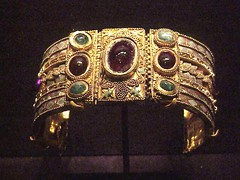 Bracelet from the Olbia Treasure Hellenistic Greek late 2nd century BCE Gold Garnet Amethyst Chrysoprase, glass, enamel (mharrsch) Tags: greek gold ancient treasure maryland jewelry baltimore blacksea artifacts waltersartmuseum olbia gemstones metalworking mharrsch