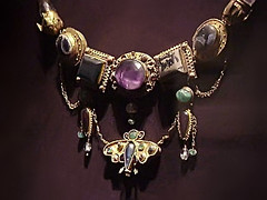 Necklace with Butterfly Pendant Gold, Amethyst, Chalcedony, Emerald, Rock Crystal, Pearl, and Colored Glass Late 2nd - 1st century BCE (mharrsch) Tags: greek gold necklace ancient treasure tomb maryland jewelry baltimore burial amethyst blacksea artifacts funerary waltersartmuseum olbia gemstones metalworking rockcrystal 1stcenturybce chalcedony 2ndcenturybce mharrsch