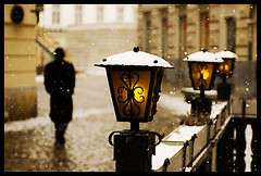 remember (sam b-r) Tags: vienna winter light snow man weather walking lights austria evening bravo europe solitude alone walk away snowing solitary topf100 judenplatz s61208120 nikonstunninggallery sambrimages