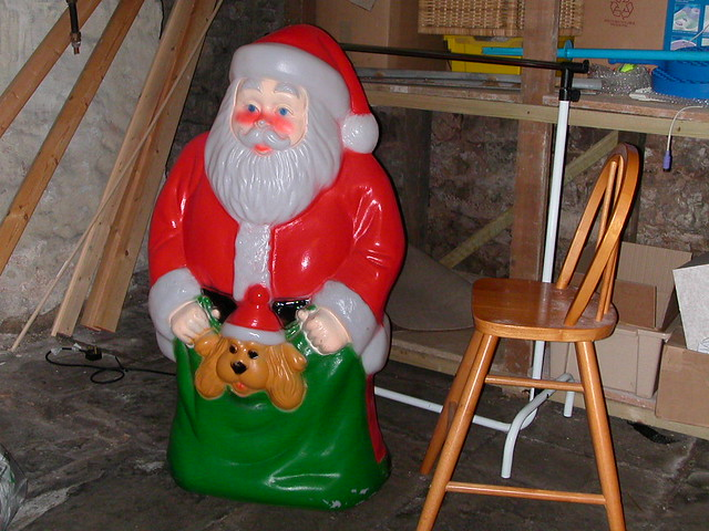 Father Christmas in the basement