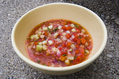 gazpacho (paul goyette) Tags: summer tomato soup salt bowl garlic wikipedia vinegar oliveoil parsley chives 1855mmf3556g gazpacho redonion breadcrumbs redbellpepper coldsoup cucmber