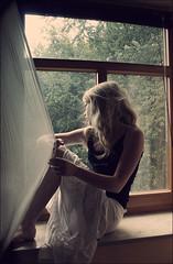 Face to Face. (Bloobird) Tags: window girl sundown skirt teenager eos350d
