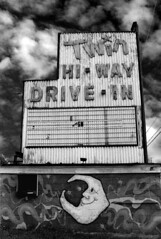Twin Hi-Way Drive-In (deatonstreet) Tags: old bw abandoned sign neon pennsylvania drivein pa
