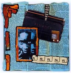 lamu wedding prep [for dan eldon] (monkey salon) Tags: africa collage painting children graffiti newspaper words assemblage mixedmedia text cotcpersonalfavorite daneldon