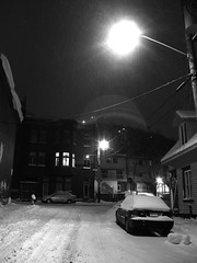 black and snow (Ashenzil) Tags: city winter snow night quebec qubec flare nightscene quebeccity nfv05 nfv