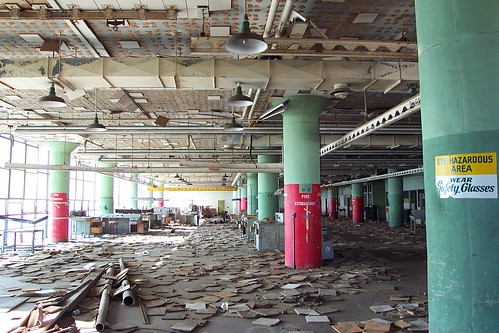 Hunter's Point, Building 253, fourth floor ruins with fallen ceiling tiles