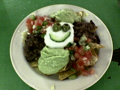 Smiley Face Meal at a Hippy Restaurant in Glastonbury (Mark) Tags: glastonbury hippy restaurant vegetarian smiley face nachos