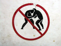 no sumo wrestling (massdistraction) Tags: red white black wrestling dirty sumo dontdoit filthy stickfigures banned grubby grappling nosumowrestling