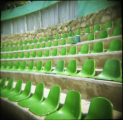 Chairs (dogseat) Tags: green topf25 mexico holga chair pattern chairs many seat ishootfilm arena seats acapulco multiple seating repeat flickys parquepapagayo conceptscreativity