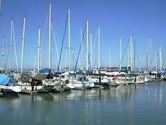 Sailboats docked at Fisherman's Wharf, San Francisco, 20030812