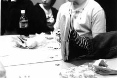 chad foot (world_of_noise) Tags: school lunch feet bw pentaxmesuper