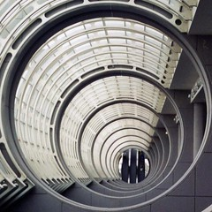 escalator at the end of a tunnel (Genista) Tags: geometric topf25 architecture stairs sandiego escalator squaredcircle inside parallax pbutton myfave squaredcirclewithin cotcpersonalfavorite