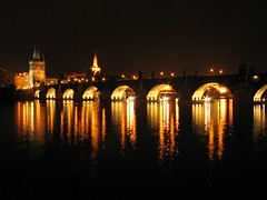 Karlov Bridge at night. (bigeoino) Tags: longexposure bridge water night dark interestingness europe czech prague karlov int60 lpglist