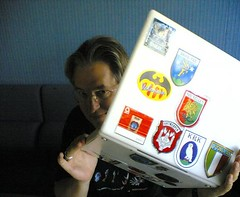 Bruce Sterling and his iBook (Joi) Tags: brucesterling macstickers topv1111