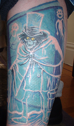 Tattoo on my left leg of the Hatbox Ghost, a figure who was briefly in the