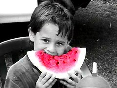 Jacob and a Melon (Special) Tags: unfound kid boy person watermelon summer pink masked cutout crapcam cutouts