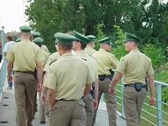 Polizei (individual8) Tags: 2003 bridge berlin germany cops august cap polizei bundeskanzleramt polizist