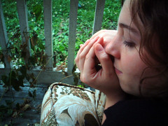 peaceful porch kate (Laura Brunow Miner) Tags: porch girl fave 2004