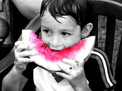 Austin and a Melon (Special) Tags: unfound kid boy person watermelon summer pink masked cutout crapcam cutouts