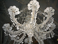 Chandelier made out of bones inside Sedlec Ossuary