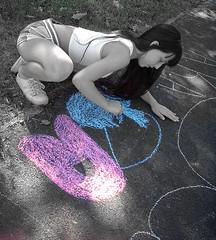 Chalk Art (semi B&W) (Halo) Tags: girl chalk child unfound masked thebean