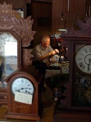 Clock Man (badunkadunk) Tags: clocks skills faces work belton light portrait