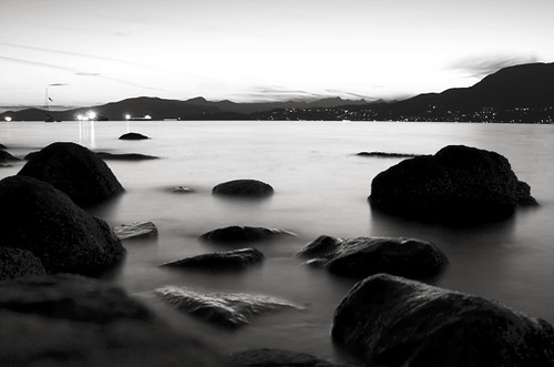 Rocks, Bay at Twilight by squarewithin
