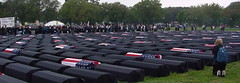 A sea of coffins, the few american flags represents the proportion of American deaths to others - by @mjb
