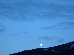 moon above mountain (bine) Tags: moon mountain sky clouds evening