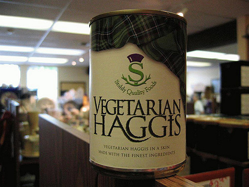 Veggie Haggis?! Not tonight...get over to Brouwers for their Great Scots! night for good Scottish beers and some real Haggis.