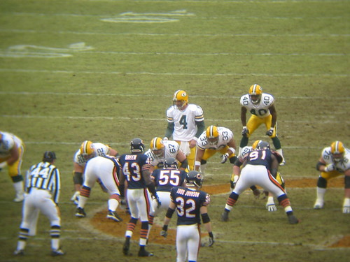 2005-01-02 Packers vs Bears Game - Farve takes a snap - through binoculars 2