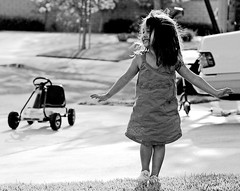 Curtsy (fd) Tags: daughter family bw portrait outdoors suburbs candid