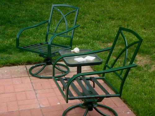 patio chairs shell green outdoors backyard