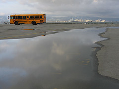 bus pool (fotogail) Tags: show sanfrancisco sunset sky urban reflection bus water rain port wow bay harbor pavement o2 cranes sanfranciscobay schoolbus popular puc foto2 fotogail wetpavement iloveit mc01 portaltothesky o2maybe o2yes ohtooyes otooyes withoutdoubt utatafeature sfchronicle96hours your300pre2006favesthanks cafeshown printforpucshow artonthewallsatthecaliforniapuc ilobsterit