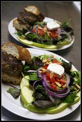 Homemade burgers and salad