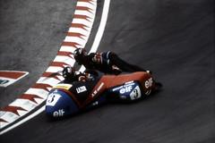 Laguna Seca GP, 1990 (artandscience) Tags: film kodachrome sidecar motorcycle lagunaseca canon ae1