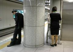 my side (BergMattias) Tags: people station japan subway geotagged shinjuku telephone side pillar svas10 tokkyo parted geo:lat=35690529 geo:lon=139692632